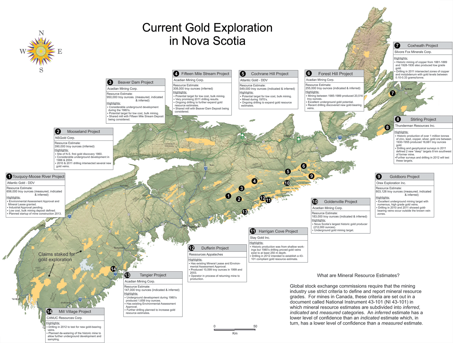 Map of Gold in Nova Scotia